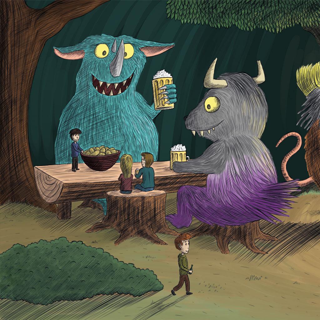 Monster beim Bier trinken